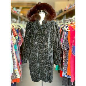 Vintage Black Velvet Coat with Embroidery and Fur